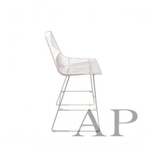 white wire bar chair side