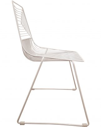 white wire dining chair side view