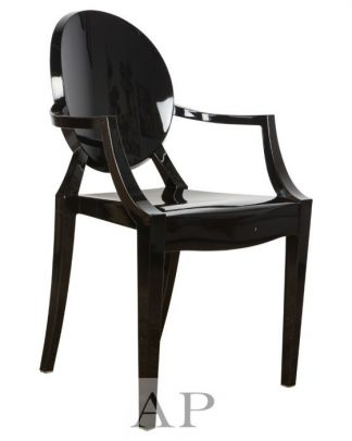 black-louis-ghost-arm-chair-front-side