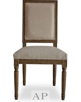 french-country-dining-side-bedroom-chair-wood-square-back-beige-front