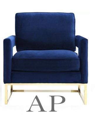adele-velvet-square-armchair-gold-frame-blue-front-ap-furniture