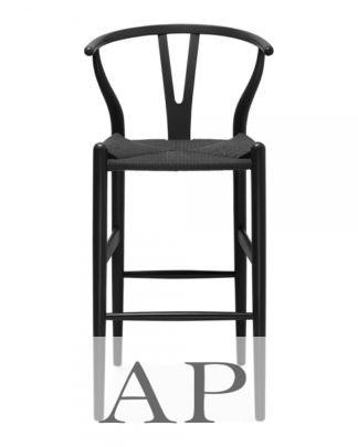 Hans-Wegner-Wishbone-barstool-black-black-front-view-apfurniture