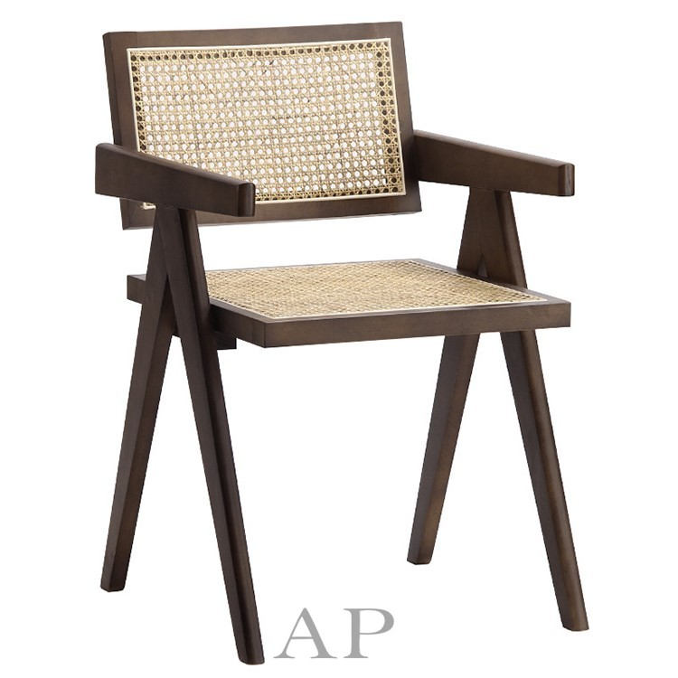replica-pierre-jeanneret-cane-dining-armchair-walnut-brown-solid-wood-ap-furniture